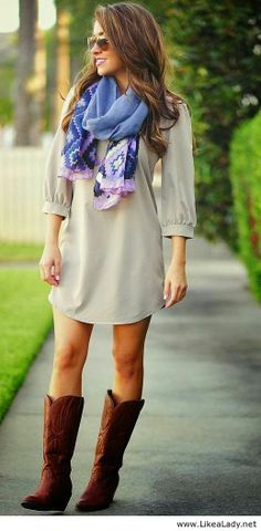 A simple dress with a cute scarf