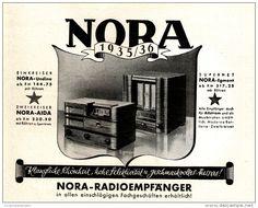 Original-Werbung/ Anzeige 1935 - NORA RADIO / RÜCKSEITE PELIKAN FÜLLHALTER FARBANZEIGE - ca 130 x 110 mm