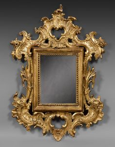 date unspecified Northern Italy, Century, carved and gilded wood mirror h: 82 w: 58 cm Estimation 1 000 - 1 200 € Sold € Ornate Mirror, Old Mirrors, Wood Framed Mirror, Framed Art, Antique Picture Frames, Antique Frames, Reclaimed Wood Mirror, Rococo Style, Objet D'art