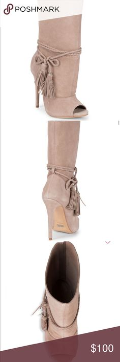 40309365919 Schutz Suede Boot Beautiful open toed suede boot with wrap around tassel tie.  Great for