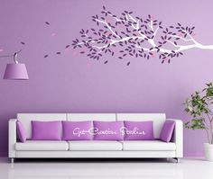 Tree Decal Branch Wall Leaves Purple Pink White Wind Floating Cool Spring Floral Breeze Cottage Stickers - 175 LEAVES!