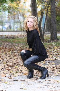 JMSTYLE Black Eco Leather Leggings by JMSTYLE on Etsy