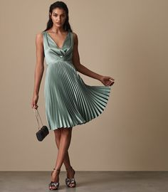 Mint Green Dress for Wedding Guest Awesome Reiss Alicia Knife Pleat Midi Dress Mint Satin Gown, Satin Dresses, Blue Dresses, Women's Dresses, Pleated Skirt Outfit, Dress Skirt, Pleated Skirts, Reiss Dresses, Green Wedding Dresses