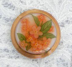 Купить Чешская пуговица Незабудки,богемское стекло,позолота,цветы,цветочки - чешские пуговицы, пуговицы