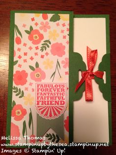 Fancy fold card made with Stampin' Up! Scalloped tag topper punch! Http://www.stampinbythesea.stampinup.net