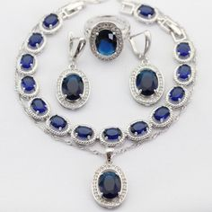 Oval Silver Color Necklace Pendant Earrings Rings bracelet 925 sterling-silver-jewelry Blue Imitated Sapphire Women Jewelry Sets