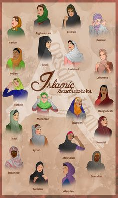 Islamic Headscaves by ArsalanKhanArtist.deviantart.com on @deviantART - Good guide for those wondering what traditional Islamic head coverings look like around the world.
