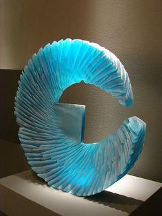 "Alex Bernstein ""Electric Blue Blade"", 2010 cast and cut glass 18.25 x 18.5 x 3.25"" Habatat Galleries"