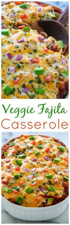 AMAZING FLAVOR! This easy, cheesy veggie fajita casserole is ready in just 45 minutes!