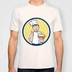 Chef Cook Bowl Pointing Circle Cartoon T-shirt. Illustration of a chef cook pointing up and holding bowl of soup with other hand set inside circle on isolated background done in cartoon style. #illustration #ChefCookBowl