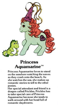 My Little Pony Princess Aquamarine and Prickles the dragon fact file ...