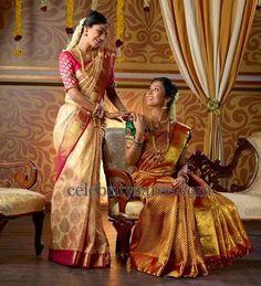 Brocade Silk Sarees in Unusual Colors | Saree Blouse Patterns