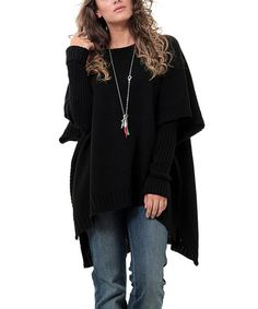 Loving this Black Scoop Neck Poncho & Arm Warmers - Plus on #zulily! #zulilyfinds