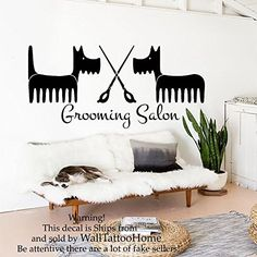 Wall Decals Dog Grooming Salon Decal Vinyl Sticker Pet Shop Scissors Home Decor Interior Design Art Mural MN345 >>> Check out this great product. (Note:Amazon affiliate link)