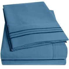 1500 Supreme Collection Extra Soft Twin Sheets Set, Denim - Luxury Bed Sheets Set With Deep Pocket Wrinkle Free Hypoallergenic Bedding, Over 40 Colors, Twin Size, Denim Luxury Bed Sheets, Luxury Bedding, Modern Bedding, Linen Bedding, Bedding Sets, Bed Linens, Comforter, Navy Bedding, Cotton Bedding