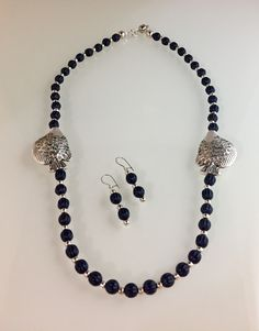 Blue vintage beads, pewter with SS overlay focal beads, magnetic clasp.