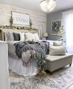35 Amazingly Pretty Shabby Chic Bedroom Design and Decor Ideas - The Trending House Farmhouse Bedroom Decor, Cozy Bedroom, Dream Bedroom, Home Decor Bedroom, Master Bedroom, Bedroom Ideas Master On A Budget, Cheap Bedroom Makeover, My New Room, Beautiful Bedrooms
