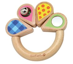 This is a super cute infant grasping/teething toy from EverEarth.  You can't find many like this on the market that actually pass safety testing these days and are from an eco friendly company.