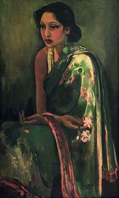 "peinture indienne : Amrita Sher-Gil, 1936, ""Sumair"", portrait de femme, vert, artiste femme, 1930s"