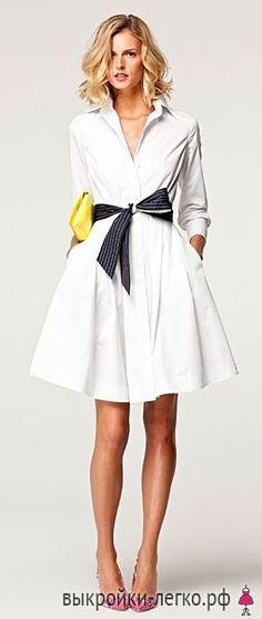 Выкройка элегантного платья-рубашки   Выкройки онлайн и уроки моделирования