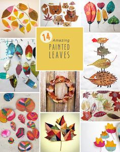 beautiful + simple ideas to paint leaves this fall ~ perfect family art activity