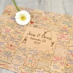 Introducing our beautiful wedding jigsaw puzzle piece guest book. Cheap Wedding Venues, Wedding Games, Wedding Favors, Wedding Planning, Wedding Invitations, Invitations Online, Wedding Programs, Wedding Sparklers, Wedding Advice