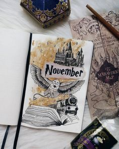 17 Harry Potter Bullet Journal Spreads That Are Magical. If youre looking for inspiration for your own Harry Potter Bujo Bullet Journal Spreads, Bullet Journal Monthly Spread, Bullet Journal Cover Page, Bullet Journal Notebook, Bullet Journal Layout, Bullet Journal Inspiration, Journal Ideas, Harry Potter Journal, Harry Potter Planner