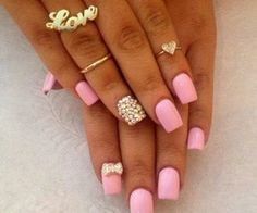 Pink Nails and gold