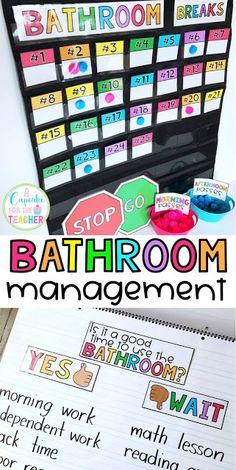 Bathroom Management in the Classroom - Everything you need to manage bathroom breaks! Classroom Routines, Classroom Procedures, Classroom Rules, School Classroom, Classroom Themes, Classroom Bathroom, Future Classroom, Classroom Hacks, Classroom Bulliten Board Ideas