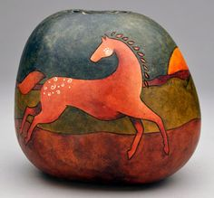 "Gourd art by Diane Springer ~ Click VISIT to purchase this art piece! | The horse design is from the ""Multiples: Southwest Animal Motifs Stick 'n Burn Pack,"" $12.95 