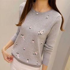 新青年女性のセーター秋2016冬のファッションエレガントな桃の花刺繍厚いプルオーバースリム薄いセーター女性