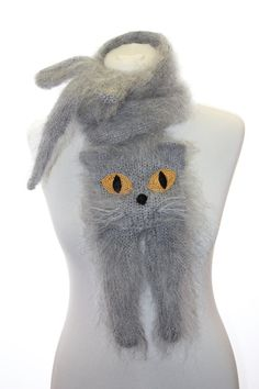 Knitted Scarf / British Blue Cat / Fuzzy Soft Scarf / by TaniaSh, $57.00