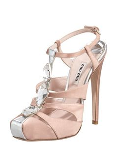Bejeweled T-Strap Satin Sandal by Miu Miu.  Miu Miu ALWAYS adds a fun edge!