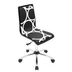 @Overstock - This comfortable computer chair is a creative addition to any office. The chair features a contemporary pattern of white circles over a solid black background. The chair comes with comfortable foam padding and swivels for easy movement.  http://www.overstock.com/Home-Garden/Printed-Circles-Computer-Chair-Black/6477434/product.html?CID=214117 $89.99