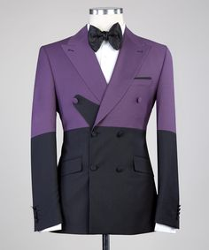 Black Double Breasted Suit, Double Breasted Jacket, Mens Glasses Frames, Purple Suits, Slim Fit Suits, Bespoke Suit, Mens Suits, Purple And Black, Suit Jacket