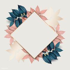 Rhombus gold frame on pink and blue leaf pattern background vector premium image by wan Pink Pattern Background, Flower Background Wallpaper, Framed Wallpaper, Flower Backgrounds, Red Background, Wallpaper Backgrounds, Iphone Wallpaper, Backgrounds Free, Molduras Vintage