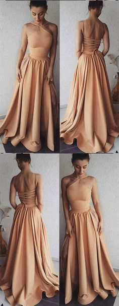 Unique Prom Dresses,Champagne Prom Gown,Long Prom Dress,Long Evening Dress,A Line Prom Dresses DS347 #unique #champagne #long #aline #prom #okdresses