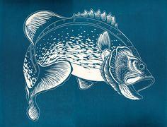 Bass. Lino print by MatthewSellwood on Etsy, $115.08