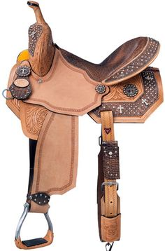 "Desert Faith barrel saddle by Royal Silver from www.spoilmyhorse.com 13"" - 16"" for $690 available in brown or black croc trim"