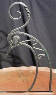 wrought iron peacock | Art Deco Table with Stylized Peacock, Iron and Copper at 1stdibs