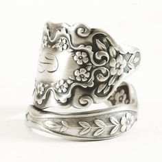 Antique Spoon Ring Forget Me Not Flowers in Sterling by Spoonier