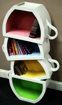 Teacup Bookcase. This would be cute for cookbooks in a kitchen, a kid's bedroom, a family room, playroom, or especially if you had a 4 seasons room.