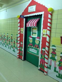 Santa's Workshop Door & Wall - Cutest Christmas Classroom Wall and Door I've seen yet!
