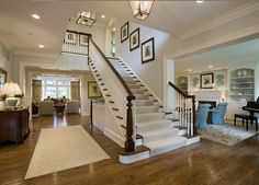 Classic Chic Home: Traditional White and Dark Wood Staircases. Bannister in entryway. Classic Chic Home: Traditional White and Dark Wood Staircases. Bannister in entryway. Wood Staircase, Staircase Design, Staircase Ideas, Entryway Stairs, Grand Staircase, Open Entryway, Winding Staircase, Stair Design, Staircase Remodel
