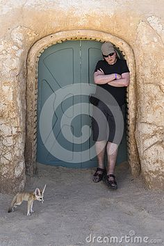 Portrait with Fennec fox on Desert in Tunisia , Africa.