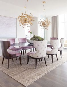 Textured chairs, fluttery pendant lights, and dining arrangements will add a dash of whimsical wit to your dining room space.