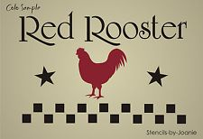 STENCIL Red Rooster Primitive Kitchen Farmhouse Country Check Border Art Signs