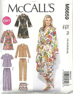 M6659 Sleepwear - long/short sleeved/legged pyjamas and tie robe. Washed silk, charmeuse, crepes, cotton voile. Max for 24 - robe 5.25 yds, 5.5 for long sleeved/legged pyjamas. 99c in sale.
