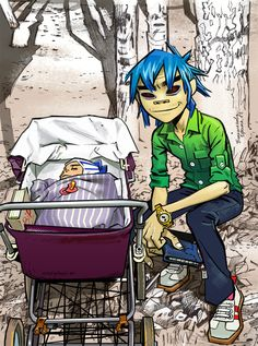"i can't even imagine the story behind this like 2D just finds a stroller with a child in it and he's like ""yo lemme take a pic with this random ass stroller"" and no one questions it"