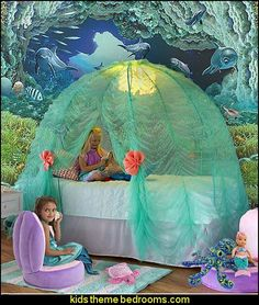 Create an under the sea themed bedroom - filled with fishies and mermaids  -    Little Mermaid Princess Ariel Sponge Bob Squarepants and ...